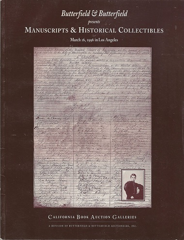 Image for Butterfield & Butterfield presents Manuscripts & Historical Collectibles March 16, 1996 in Los Angeles