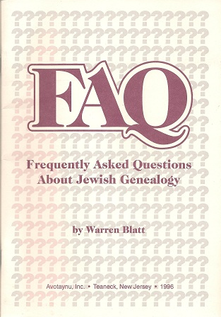 Image for Faq:  Frequently Asked Questions About Jewish Genealogy