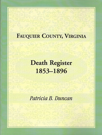 Image for Fauquier County, Virginia Death Register 1853-1896